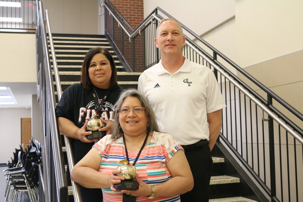 Teachers of the Year, Mrs. Vera and Mrs. Banuelos with Mr. Knight.
