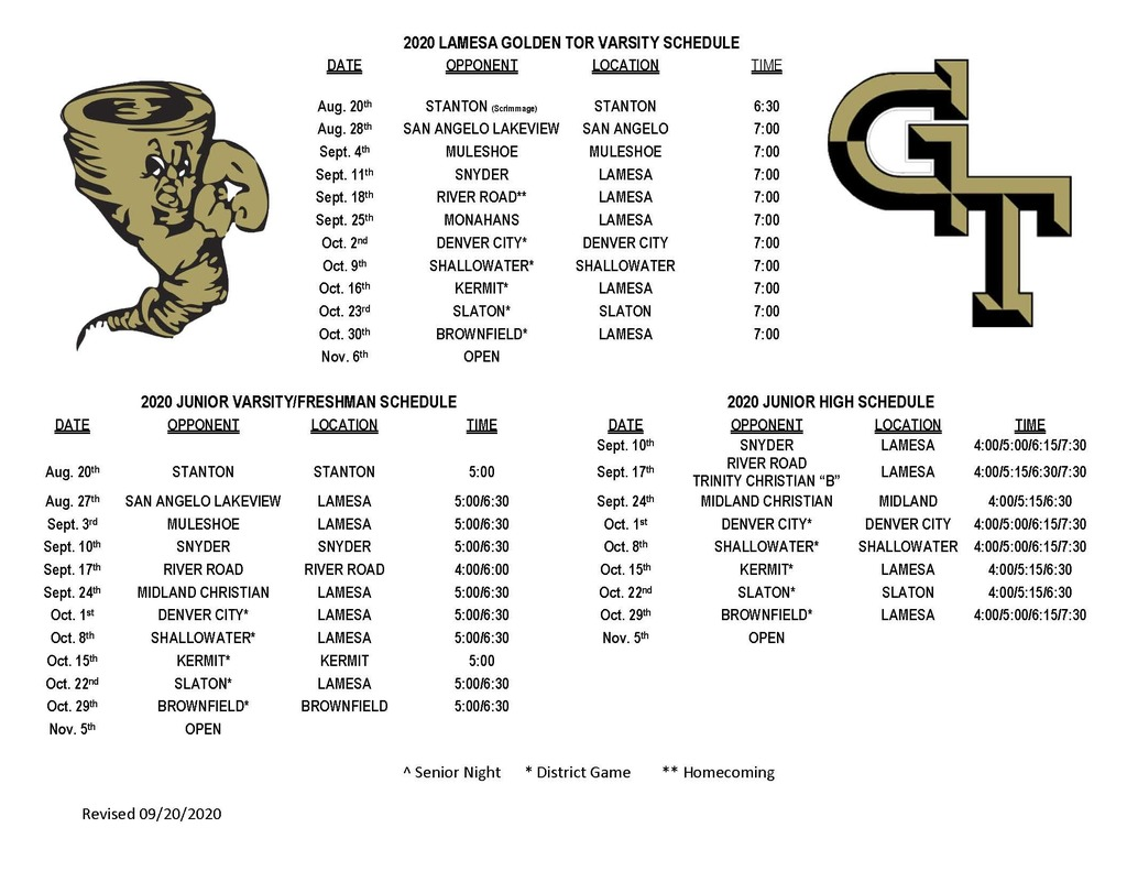 Revised Football Schedules